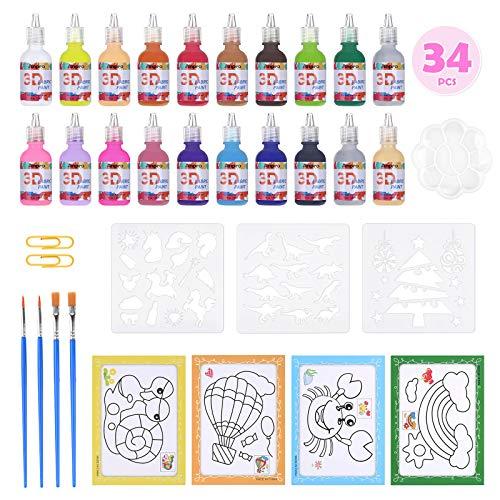 Anpro Acrylfarbenset 3D 34 DIY-Farbsets in 20 Acrylfarben, 20 X 29ml Acryl-Farben für Anfänger, Studenten und Künstler Acrylmalerei Stoffmaterialien
