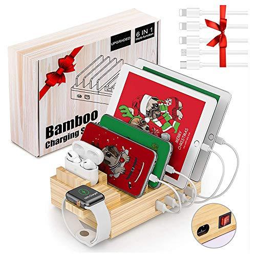 Ladestation für Mehrere Geräte Bambus 6 Port USB Handy Ladestation Mehrfach Multi Ladegerät Charging Station Organizer für Handy Smartphones Tablet mit 5 Kabels