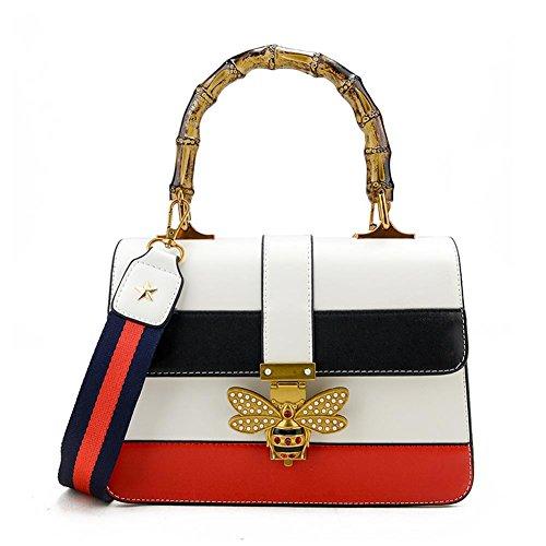 Uniqstore Damen Crossbody Tasche Handtasche Schultertasche mit Biene-Form kleine Schloss Weiß
