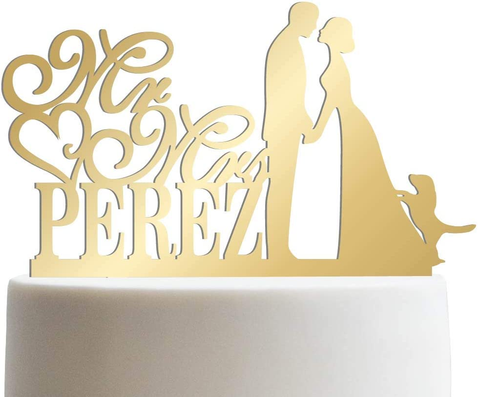 Groom Bride and Puppy Wedding Made Custom Cake Limited time trial price Outlet sale feature Topper Fa