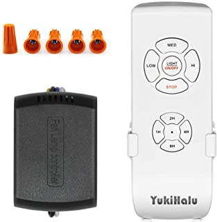 YUKIHALU 3-in-1 Small Size Universal Ceiling Fan Remote Control Kit, 4 Countdown Timing 4 Fan Speeds and Light ON/Off, Wir...