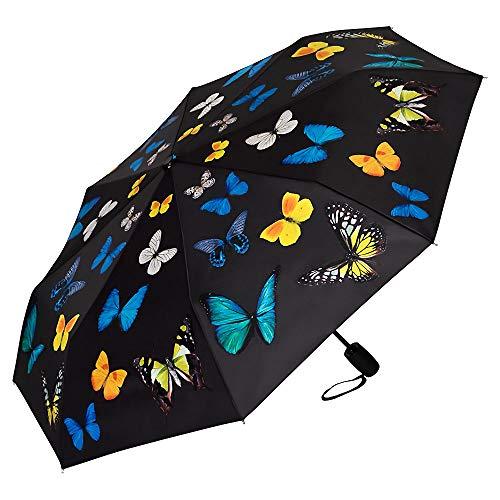 VON LILIENFELD® Ombrello Pieghevole Tascabile Automatico Plegable Leggero Stabile Colorato Danza di Farfalle