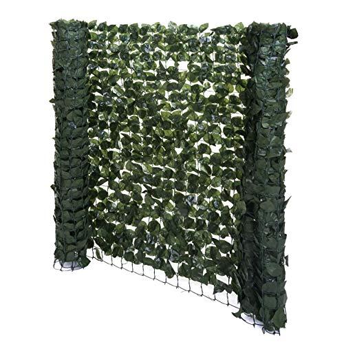 Mendler Balkonsichtschutz T811, Buchenhecke Sichtschutz Windschutz Verkleidung für Terrasse Zaun - 300x100cm dunkel