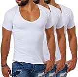 Young & Rich/Rerock Herren Uni T-Shirt mit extra tiefem V-Ausschnitt Slimfit deep...