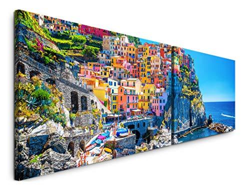 Paul Sinus Art schöne Bunte Landschaften 180x50cm - 2 Wandbilder je 50x90cm - Kunstdrucke - Wandbild - Leinwandbilder fertig auf Rahmen