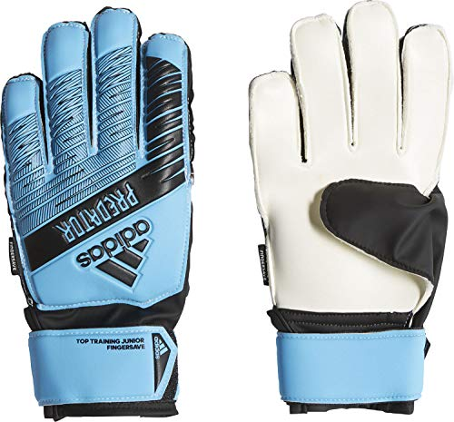 adidas Kinder Predator Top Training Fingersave Junior Torwarthandschuhe, Bright Cyan/Black, 5