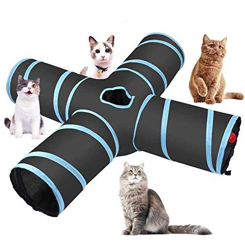 Gato túnel Juguetes Premium 4 Camino Túneles Extensible Plegable Gato Tienda del Juego Interactivo Juguete Laberinto Casa Gato Cama Bolas alarmas para Gatito del Gato Gatito Conejo Pequeños Animales