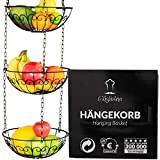 Chefarone Obstkorb zum Aufhängen - 130cm Küchenampel für mehr Platz auf Ihrer Arbeitsplatte - Obst Hängekorb Küche - Obstschale hängend (schwarz)