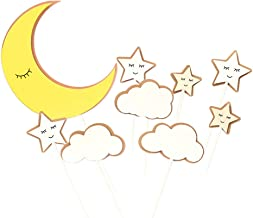 Minkissy 3 Set/ 27 Pcs Decoration Toppers, Cake Topper Decor Cartoon Moon and Star Shape Picks Decoration Paper Picks for ...