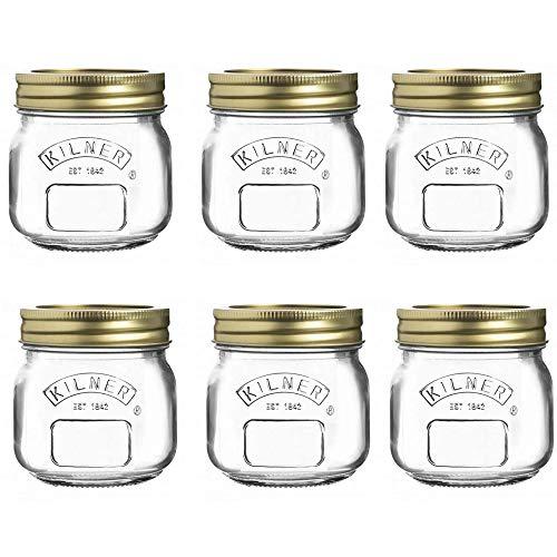 Kilner Giro Top Conserva Bote Almacenaje Soulition 0.25 Litro Transparente (Paquete De 6) - Transparente/Oro