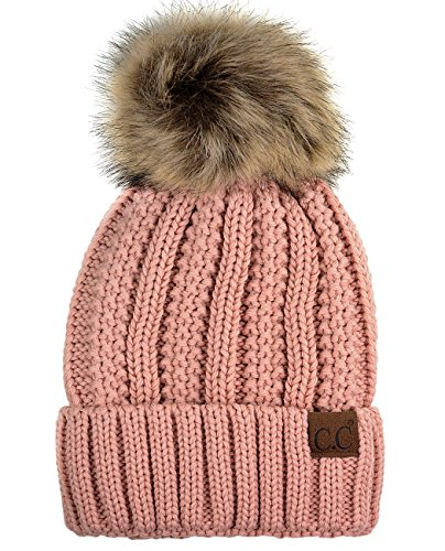 C.C Thick Cable Knit Faux Fuzzy Fur Pom Fleece Lined Skull Cap Cuff Beanie, Indi Pink