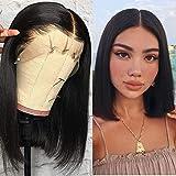 VIPbeauty Bob Courte Perruque de Cheveux Humains Lisse Lace Front Perruques 130% de densité Naturel Noir Couleur Brazilian Virgin Remy Hair Pour Femme 10 pouces