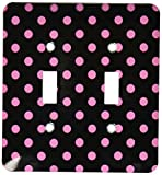 Black and Pink Polka Dot Print Double Toggle Switch