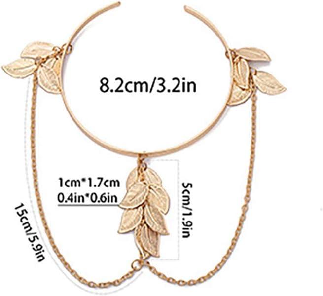 LZIYAN Leaf Tassel Armband Vintage Upper Arm Bracelet Chain for Women Girls,Golden