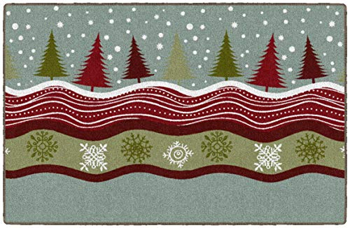 Brumlow MILLS Winter Woods Washable Christmas Tree Snow Scene Indoor or Outdoor Holiday Rug for Living or Dining Room, Bedroom and Kitchen Area, 30' x46, Multicolor, EW20598-30X46BH