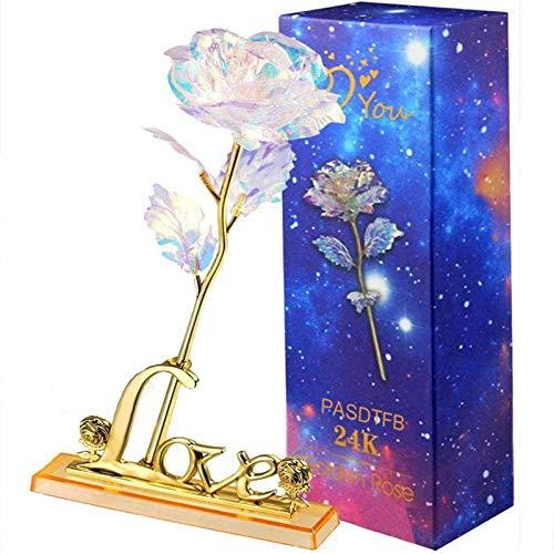 PASDTFB Rosa 24 K Rosa de la Galaxia, Flores Artificiales de Rose con Soporte de Exhibición en Caja de Regalo, día de San Valentín, día de la Madre, Aniversario, Cumpleaños, Boda, Navidad