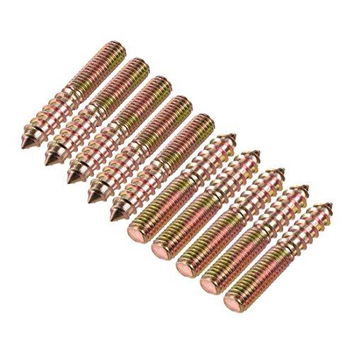 DealMux Pernos de suspensión M8 Longitud 1-7/8'(48 mm) Pernos de doble cabeza Tornillo autorroscante 8 mm Junta de madera Patas de muebles 10 piezas