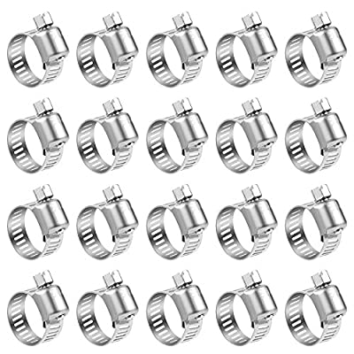 LOKMAN Hose Clamp, 20 Pack Stainless Steel Adjustable 13-19mm Range Worm Gear Hose Clamp, Water Pipe Clamp for for Plumbing, Automotive and Mechanical Applications