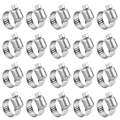 Hose Clamp, 20 Pack Stainless Steel Adjustable 6-12mm Size Range Worm Gear Hose Clamp, Fuel Line Clamp for Plumbing, Automotive And Mechanical Application