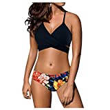 Marosoniy Womens Bathing Suits Sexy Low Waist Bandage Beachwear Cross Bikini Swimsuits for Women Floral Printing 2 Piece Set (M US (4-6), Black Top+Flowers Bottom)