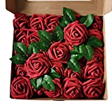 25Pcs Artificial Roses Flowers Realistic Roses Flower Heads Real Looking Fake Flowers Foam Rose with PE Stem for DIY Wedding Bouquets Centerpieces Bridal Shower Party Valentine Day Home Decorations