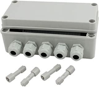 YXQ 2 In to 5 Out Electrical Junction Box w Terminal Connector Gland 7x3x2.8inch IP65 Waterproof Plastic Grey Dustproof Electric Project Enclosure