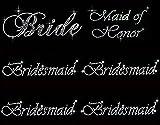 Lot of 6 Rhinestone Wedding Iron on Transfer (1 Bride) (1 Maid of Honor) (4 Bridesmaid)