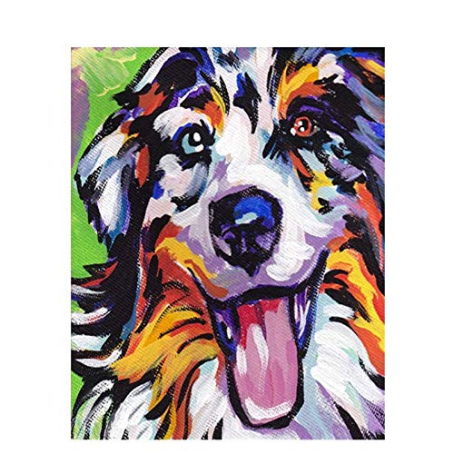 CUUGF Kit De Pintura Por Números Para Adultos O Principiantes 45X60Cm Cuadro De Bricolaje Por Números Kit De Perro Animales Pintado A Mano Pintura Al Óleo Lienzo Cuadro Pintura Por Números Cuadro D