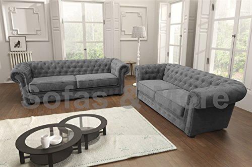 Chesterfield Style Corner Sofa Set 3+2 Seater Armchair Grey Fabric (3+2 Seater)