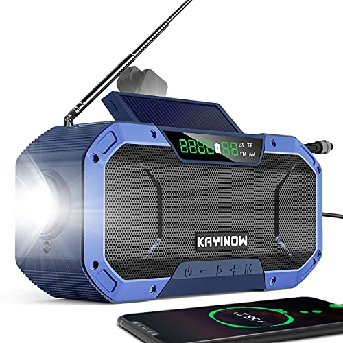 Portable Emergency Radio Bluetoooth Speaker,FM AM WB NOAA Weather Radio w/ 5000mAh Power Bank,IPX5 Waterproof Hand Crank Solar Radio w/LED Flashlight,SOS Alarm,Compass for Outdoor Survival