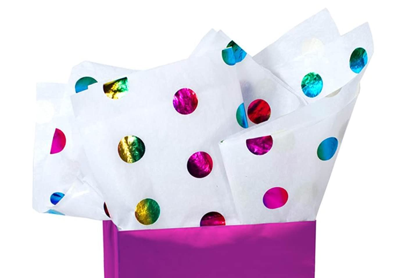 Rainbow Multi-Color Metallic Polka Dot Tissue Paper 20 Inch x 30 Inch - 24 Sheets