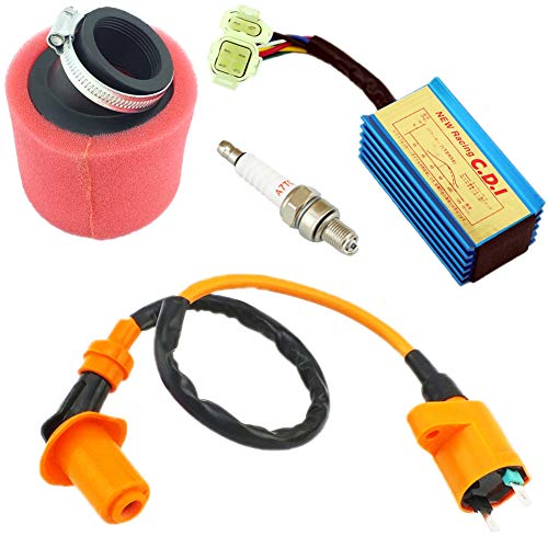 YOFMOO Performance Ignition Coil + CDI + Spark Plug + 39mm Red Air Filter GY6 50cc - 150cc 4-stroke Horizontal Engine Scooter ATV Go Kart Moped Quad Go Kart Pit Dirt Racing Bike 139QMB 152QMI 157QMJ