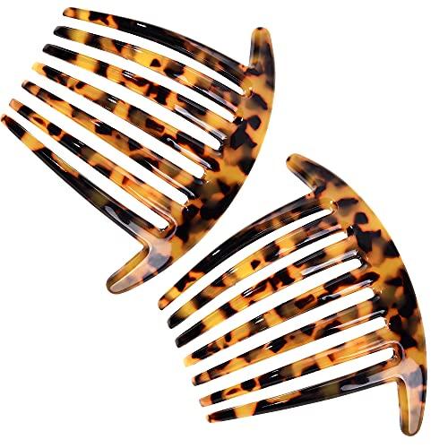 Französisch Twist 7 Zähne Schildkröte haarkämme steckkamm 10 cm Steckkämme Set von 2 Zelluloid einsteckkamm für Frauen und Mädchen