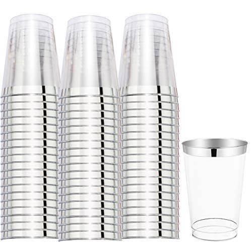 WELLIFE 100 PACK Silver Rim Plastic Cups 12 Oz Silver Disposable Tumblers Hard Plastic Cups Perfect for Party Wedding and Other Cater Occasion