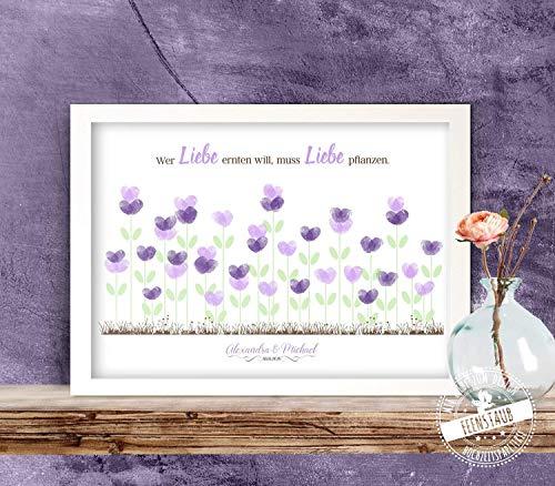 Wedding-Tree Blumen-wiese für Fingerabdrücke, Gästebuch-idee Leinwand für Hochzeit, individuell