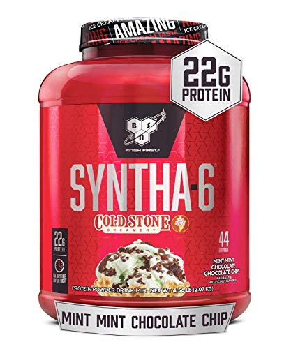BSN Syntha-6 Whey Protein Powder, Cold Stone Creamery- Mint Mint Chocolate Chocolate Chip Flavor, Micellar Casein, Milk Protein Isolate Powder, 44 Servings