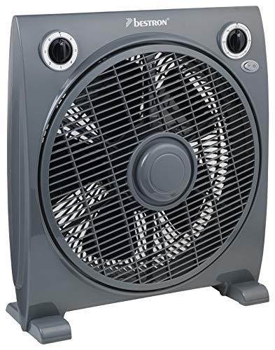 Bestron Box-/Bodenventilator mit Timer, Höhe: 41 cm, Ø 33 cm, Summer Breeze, 50 Watt, Grau
