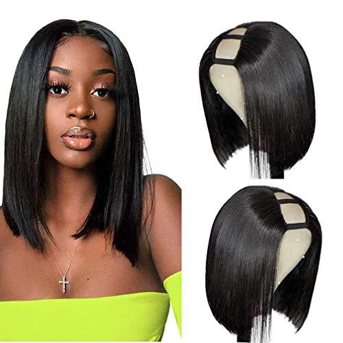 U Part wig Straight U Part Bob Wigs Human Hair for Black Women (10inch) Glueless Full Head Clip in U Part Half Wig Short Bob Human Hair Wigs hair Extensions