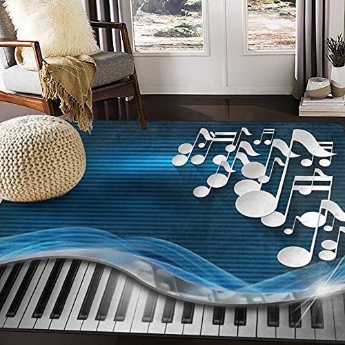 ALAZA Music Piano Blue Area Rug Rugs for Living Room Bedroom 7' x 5'