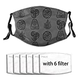 Avatar The Last Airbender-4 Element Symbols Adjustable Earloop Face Mouth Anti Pollution Mask with 6 Filters