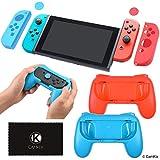 CAMKIX Kit de Boost de Prise Ferme Compatible avec Nintendo Switch: 2 manettes de Jeu, 2 manettes de Protection, 4 couvercles pour Les Pouces, 1 Chiffon de Nettoyage - Confort et adhérence maximale