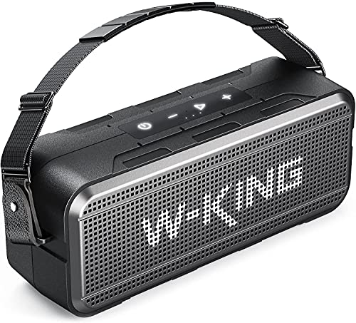 60W Bluetooth Lautsprecher, W-KING Tragbarer Bass Bluetooth Box 24h Spielzeit / 8000mAh Power Bank, IPX6 Wasserdichter Outdoor Lautsprecher Drahtlose Unterstützung 5.0 Bluetooth, EQ, TF