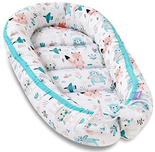 JUKKI Babynest Cocon 50x90 cm, double face, 100% coton, coussin matelas, nid de lit bébé, doudou, lit pour bébé et nourrisson, cododo, coussin
