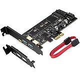 MZHOU Tarjeta PCI Express PCI-E a USB 3.0 con 1 Puerto USB C y 2 Puertos USB A, para Agregar Dispositivos SSD M.2 SATA III a una PC o Placa Base a Través de una Tarjeta Adaptadora M.2 SATA a PCIe 3.0