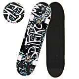 Anfan 31' Pro Complete Skateboard, Adult Tricks Skate Board with 9 Layer Canadian Maple Wood, Double Kick Tail for Beginner Kids Boys Girls 5 Up Years Old (US Stock) (Spitfire)