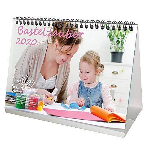 Bastel - Tischkalender 2020 DIN A5 Bastelzauber weiß Geschenk-Set: 1 Grußkarte 1 Weihnachtskarte Selbstgestalten Bastelkalender Fotokalender Basteln Edition Seelenzauber