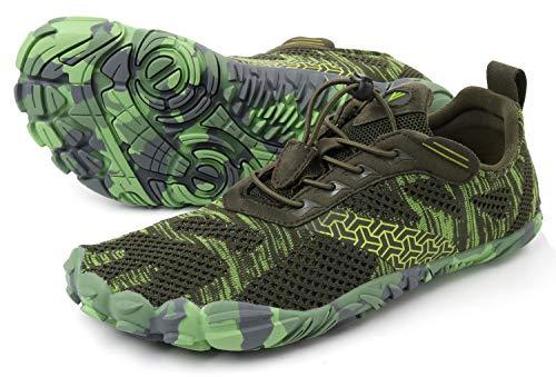 WHITIN Men's Cross-Trainer | Barefoot & Minimalist Shoe | Zero Drop | Wide Toe Box | Five Fingers | Gym Fitness Workout Trail Running | Male Green | Size 9