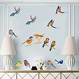 23 Pezzi Uccello adesivi da parete,Acquerello Ramo Uccelli del Giardino Adesivi Murali,Rimovibile Animale Stickers Murali per Camerette Bambini Soggiorno Asilo Nido decalcomanie Decorazioni