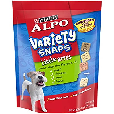 Purina ALPO Dog Treats, Variety Snaps Little Bites Beef, Chicken, Liver, Lamb - (4) 60 oz. Pouches