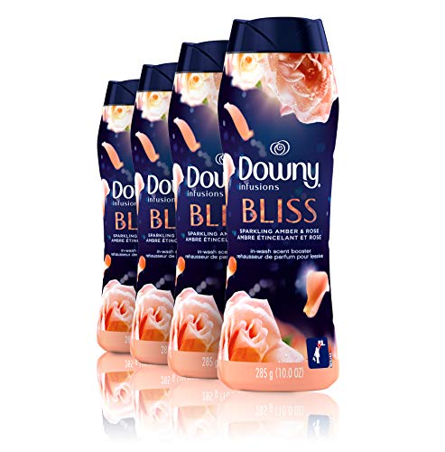 Downy Infusions in-Wash Scent Booster Beads, Bliss, Sparkling Amber & Rose, 10 Ounce, 4 Count